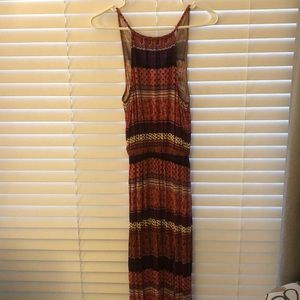 Patterned high neck maxi dress with slit